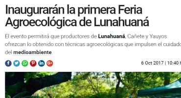 Diario La República: Inaugurarán la primera Feria Agroecológica de Lunahuaná